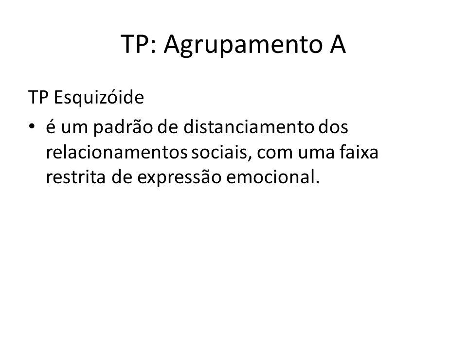 TP: Agrupamento A TP Esquizóide é um padrão de distanciamento dos relacionamentos sociais, com uma faixa restrita de expressão emocional.