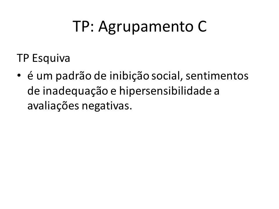 TP: Agrupamento C TP Esquiva é um padrão de inibição social, sentimentos de inadequação e hipersensibilidade a avaliações negativas.