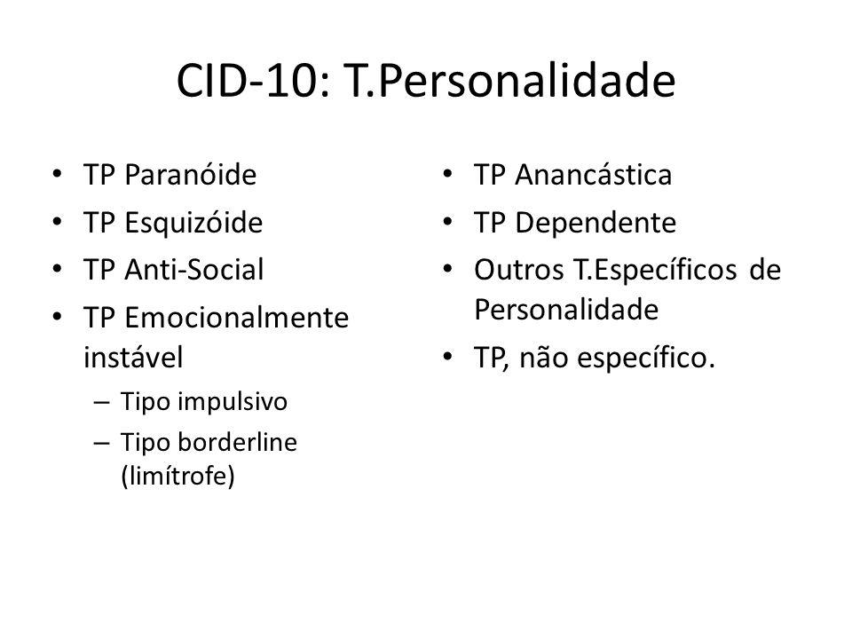 CID-10: T.Personalidade TP Paranóide TP Esquizóide TP Anti-Social TP Emocionalmente instável – Tipo impulsivo – Tipo borderline (limítrofe) TP Anancástica TP Dependente Outros T.Específicos de Personalidade TP, não específico.