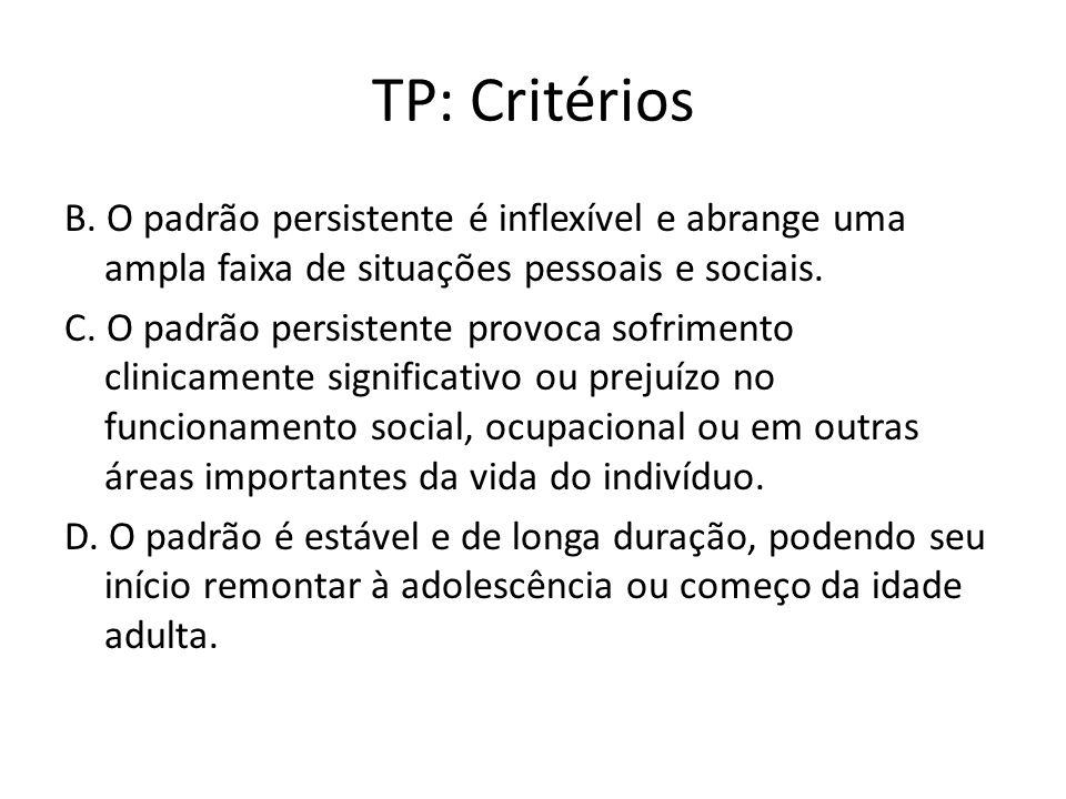 TP: Agrupamento B TP Narcisista é um padrão de grandiosidade, necessidade por admiração e falta de empatia.