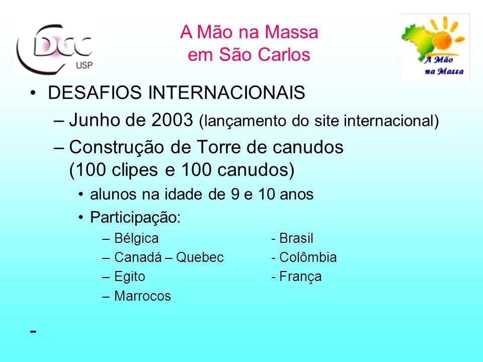 DESAFIOS INTERNACIONAIS –Junho de 2003 (lançamento do site internacional) –Construção de Torre de canudos (100 clipes e 100 canudos) alunos na idade de 9 e 10 anos Participação: –Bélgica- Brasil –Canadá – Quebec- Colômbia –Egito- França –Marrocos - A Mão na Massa em São Carlos