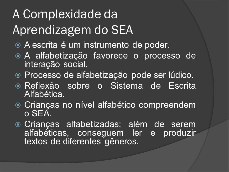 A Complexidade da Aprendizagem do SEA  A escrita é um instrumento de poder.
