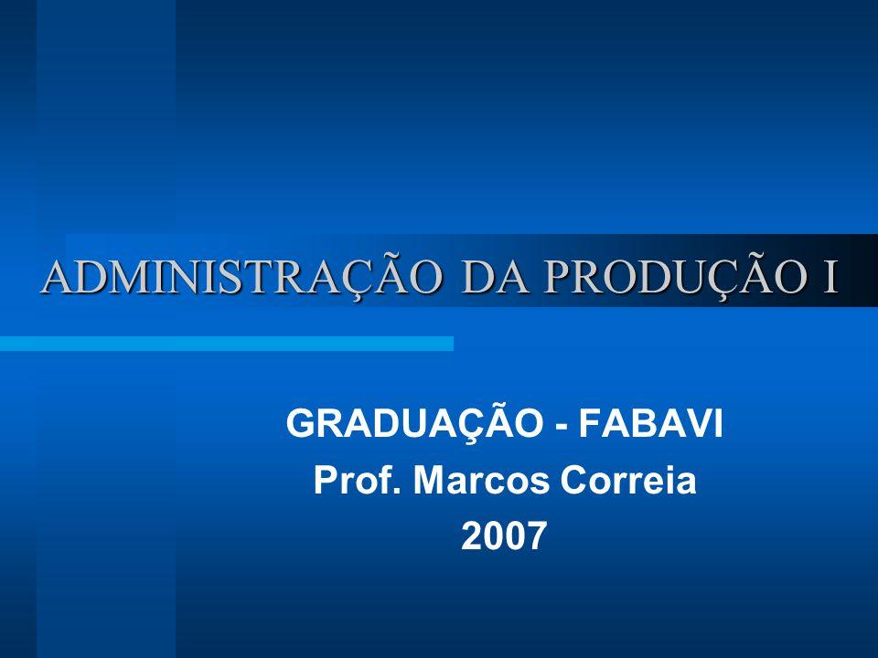 ADMINISTRAÇÃO DA PRODUÇÃO I GRADUAÇÃO - FABAVI Prof. Marcos Correia 2007