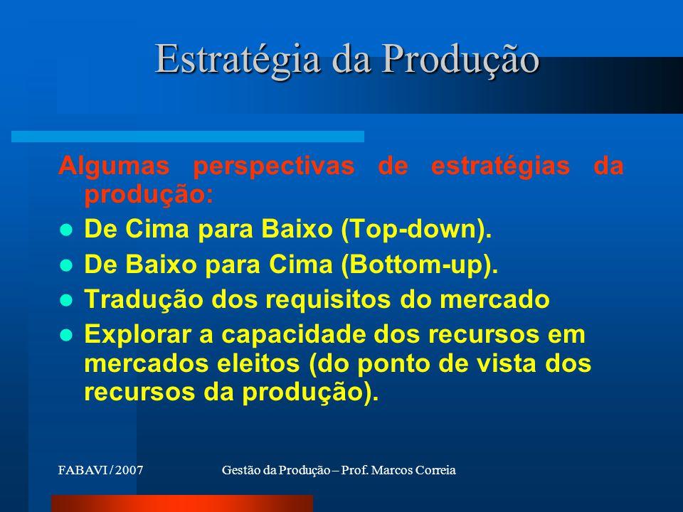 FABAVI / 200701 Perspectiva dos recursos de produção (1/3) Decisões estruturais e infra-estruturais Recursos de operações Capacitação das operações Processos de operações...