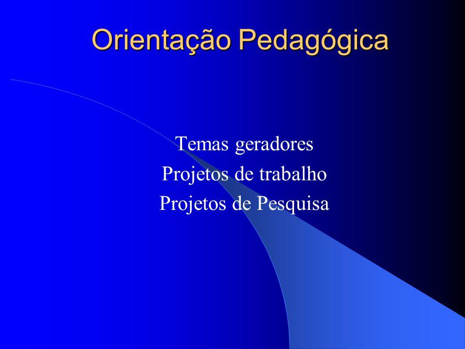 Orientação Pedagógica Temas geradores Projetos de trabalho Projetos de Pesquisa