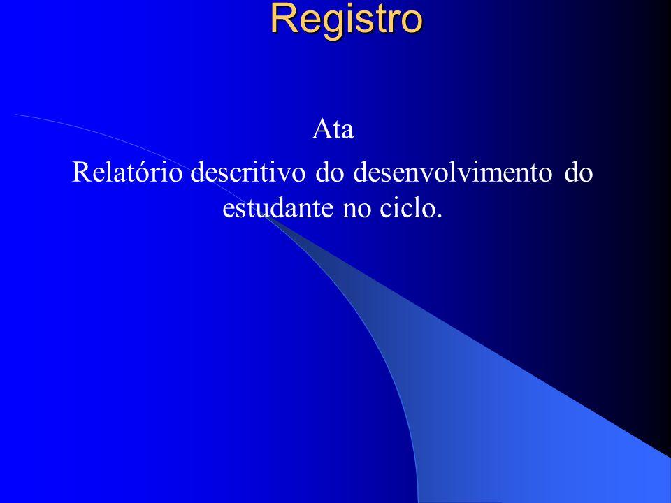 Registro Ata Relatório descritivo do desenvolvimento do estudante no ciclo.