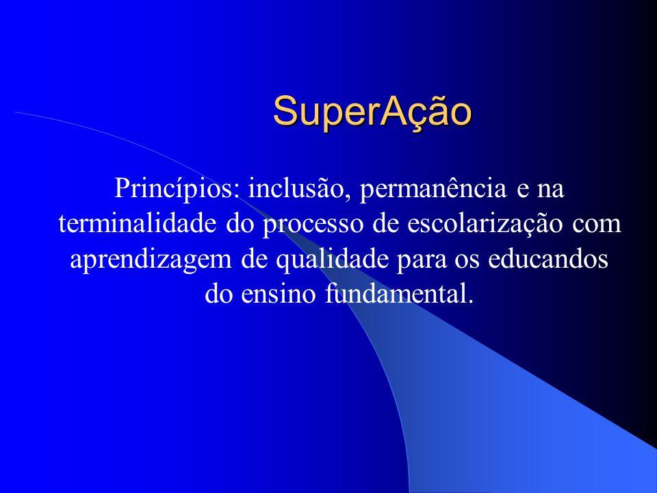 SuperAção Princípios: inclusão, permanência e na terminalidade do processo de escolarização com aprendizagem de qualidade para os educandos do ensino fundamental.