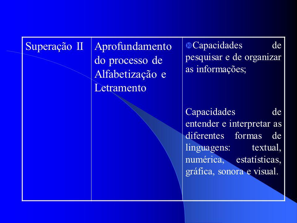 Superação IIAprofundamento do processo de Alfabetização e Letramento  Capacidades de pesquisar e de organizar as informações; Capacidades de entender e interpretar as diferentes formas de linguagens: textual, numérica, estatísticas, gráfica, sonora e visual.