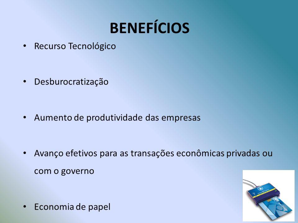 BENEFÍCIOS Recurso Tecnológico Desburocratização Aumento de produtividade das empresas Avanço efetivos para as transações econômicas privadas ou com o governo Economia de papel
