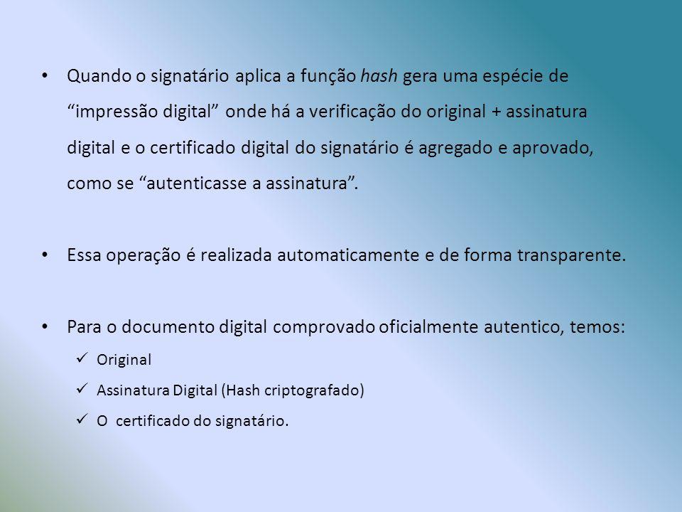 Quando o signatário aplica a função hash gera uma espécie de impressão digital onde há a verificação do original + assinatura digital e o certificado digital do signatário é agregado e aprovado, como se autenticasse a assinatura .