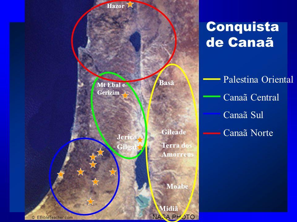 NASA PHOTO © EBibleTeacher.com Conquista de Canaã Israel Blank Map Hazor Mt Ebal e Gerizim Gileade Terra dos Amorreus Basã Moabe Midiã Jericó Gilgal Palestina Oriental Canaã Central Canaã Sul Canaã Norte