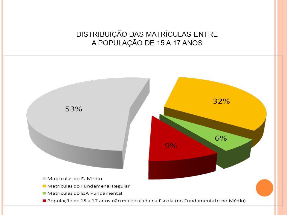 DISTRIBUIÇÃO DAS MATRÍCULAS ENTRE A POPULAÇÃO DE 15 A 17 ANOS