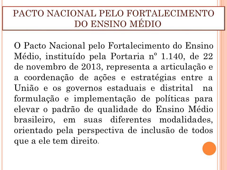 O Pacto Nacional pelo Fortalecimento do Ensino Médio, instituído pela Portaria nº 1.140, de 22 de novembro de 2013, representa a articulação e a coord