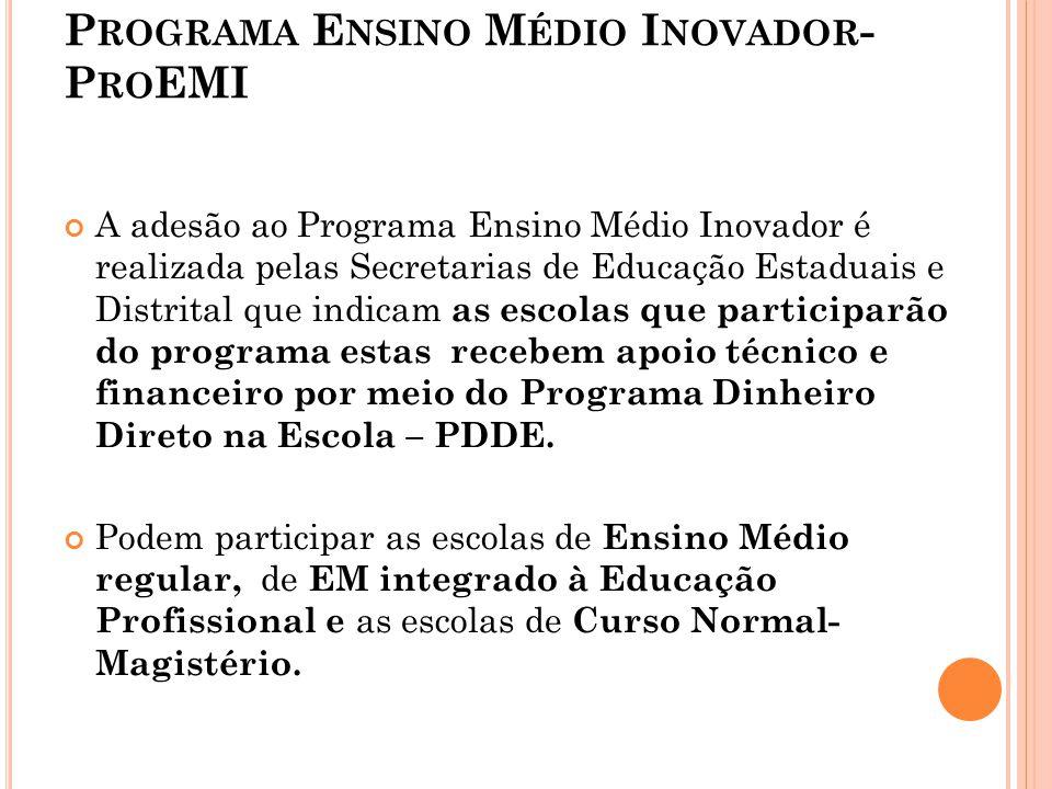P ROGRAMA E NSINO M ÉDIO I NOVADOR - P RO EMI A adesão ao Programa Ensino Médio Inovador é realizada pelas Secretarias de Educação Estaduais e Distrit
