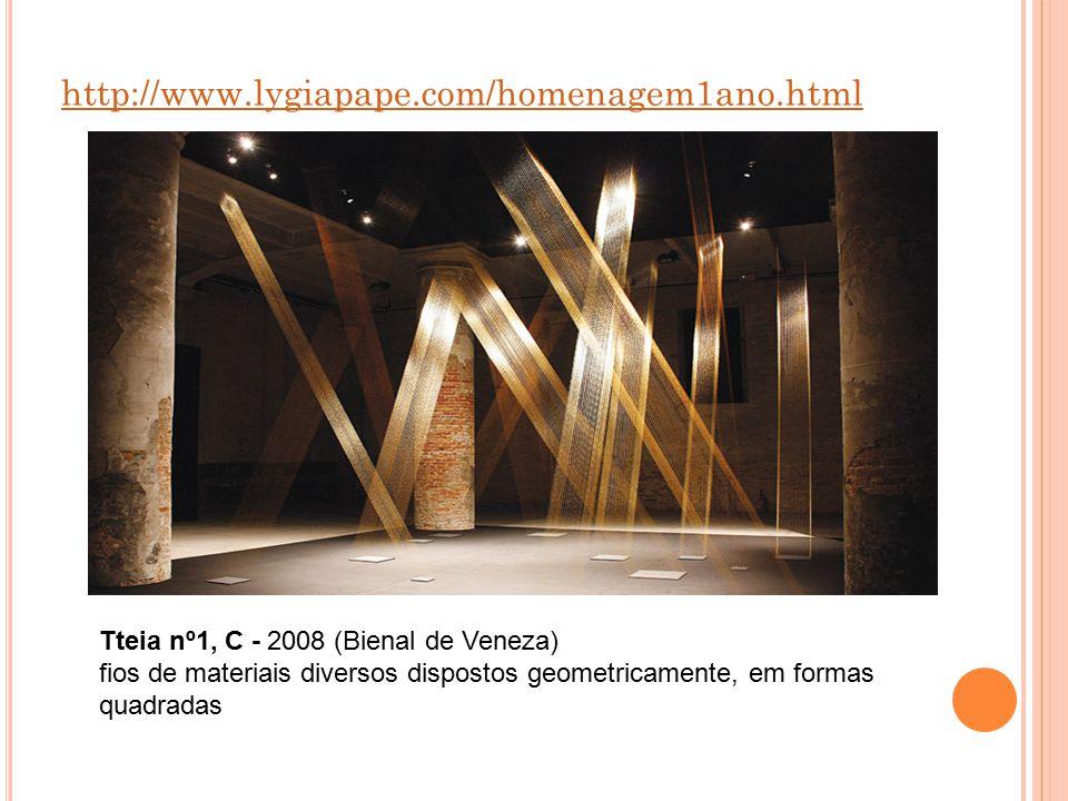 http://www.lygiapape.com/homenagem1ano.html Tteia nº1, C - 2008 (Bienal de Veneza) fios de materiais diversos dispostos geometricamente, em formas qua