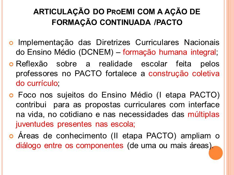 ARTICULAÇÃO DO P RO EMI COM A AÇÃO DE FORMAÇÃO CONTINUADA /PACTO Implementação das Diretrizes Curriculares Nacionais do Ensino Médio (DCNEM) – formaçã