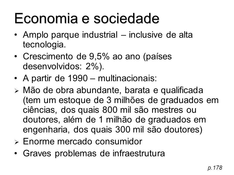 Economia e sociedade Amplo parque industrial – inclusive de alta tecnologia. Crescimento de 9,5% ao ano (países desenvolvidos: 2%). A partir de 1990 –