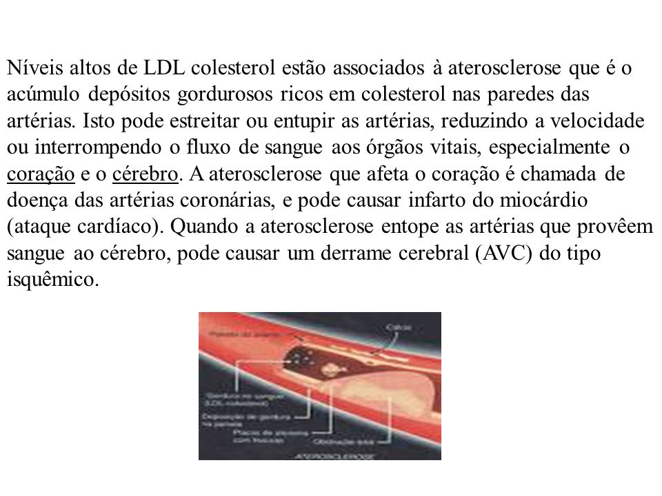Níveis altos de LDL colesterol estão associados à aterosclerose que é o acúmulo depósitos gordurosos ricos em colesterol nas paredes das artérias. Ist