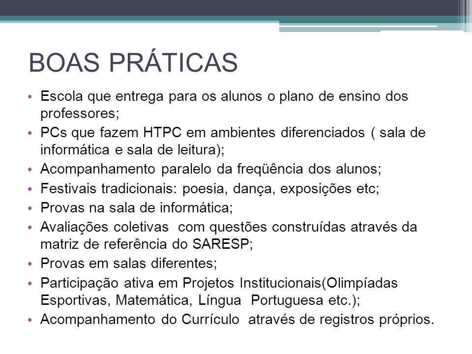 BOAS PRÁTICAS Escola que entrega para os alunos o plano de ensino dos professores; PCs que fazem HTPC em ambientes diferenciados ( sala de informática