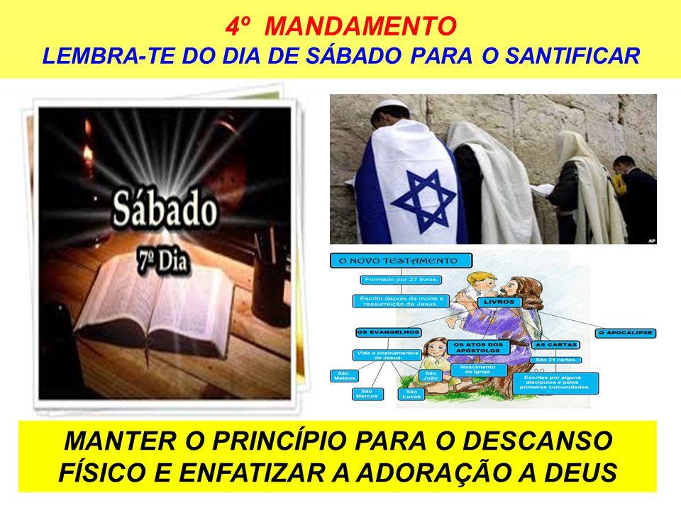 4º MANDAMENTO LEMBRA-TE DO DIA DE SÁBADO PARA O SANTIFICAR MANTER O PRINCÍPIO PARA O DESCANSO FÍSICO E ENFATIZAR A ADORAÇÃO A DEUS
