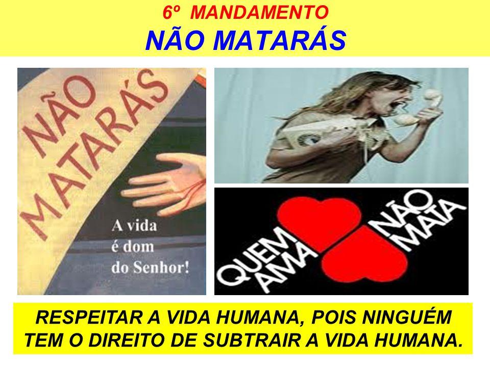 6º MANDAMENTO NÃO MATARÁS RESPEITAR A VIDA HUMANA, POIS NINGUÉM TEM O DIREITO DE SUBTRAIR A VIDA HUMANA.