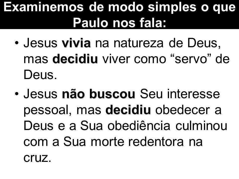 vivia decidiuJesus vivia na natureza de Deus, mas decidiu viver como servo de Deus.