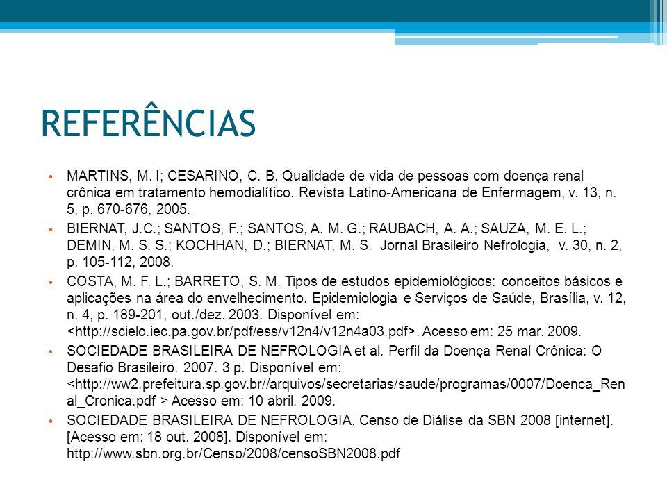 REFERÊNCIAS MARTINS, M.I; CESARINO, C. B.