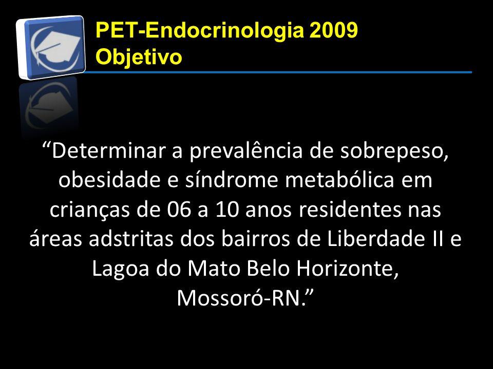 Determinar a prevalência de sobrepeso, obesidade e síndrome metabólica em crianças de 06 a 10 anos residentes nas áreas adstritas dos bairros de Liberdade II e Lagoa do Mato Belo Horizonte, Mossoró-RN. PET-Endocrinologia 2009 Objetivo