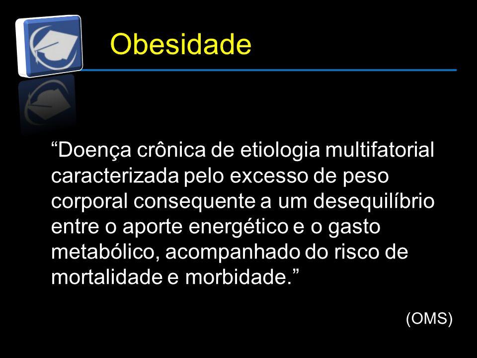 Obesidade Doença crônica de etiologia multifatorial caracterizada pelo excesso de peso corporal consequente a um desequilíbrio entre o aporte energético e o gasto metabólico, acompanhado do risco de mortalidade e morbidade. (OMS)