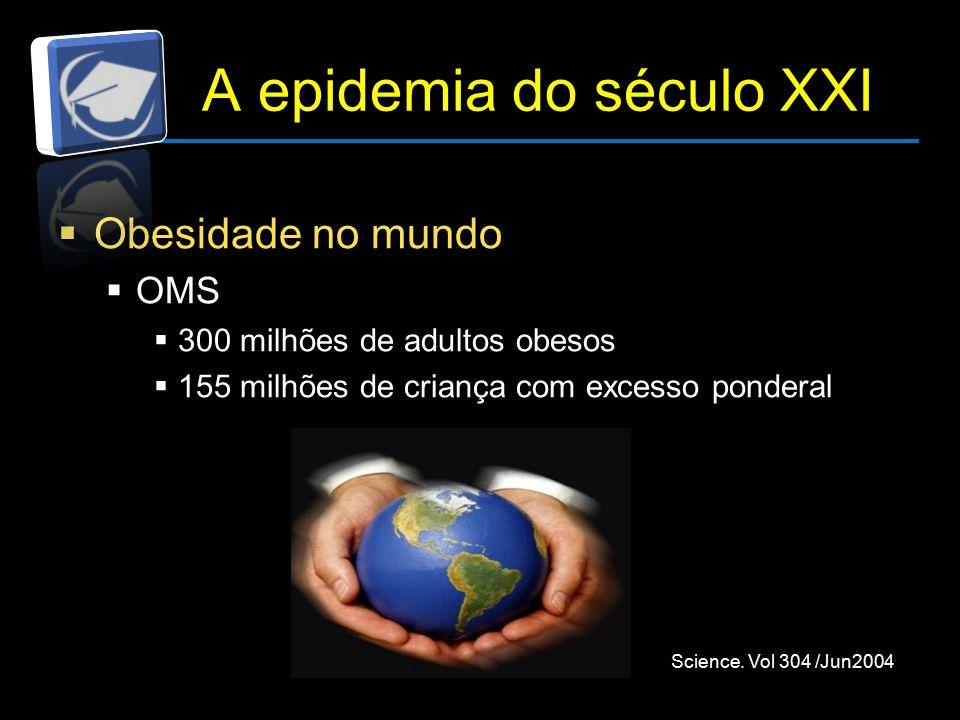 A epidemia do século XXI  Obesidade no mundo  OMS  300 milhões de adultos obesos  155 milhões de criança com excesso ponderal Science.