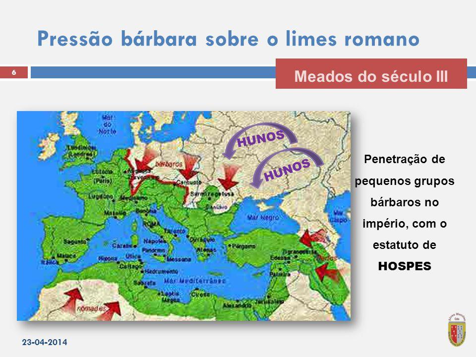 Pressão bárbara sobre o limes romano 23-04-2014 6 Meados do século III Penetração de pequenos grupos bárbaros no império, com o estatuto de HOSPES HUNOS