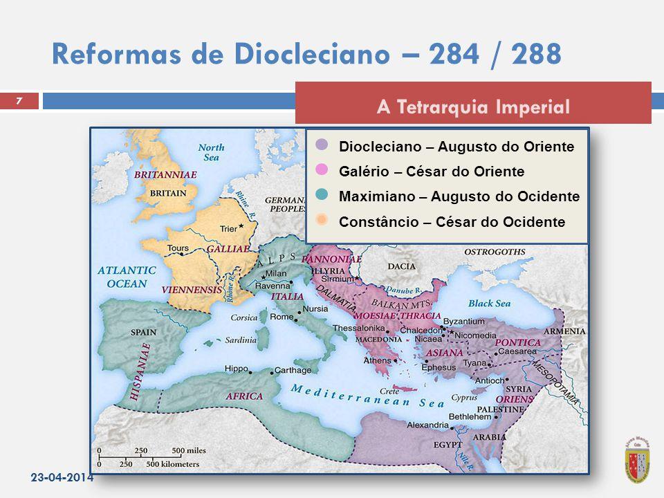 Reformas de Diocleciano – 284 / 288 23-04-2014 7 A Tetrarquia Imperial Diocleciano – Augusto do Oriente Galério – César do Oriente Maximiano – Augusto do Ocidente Constâncio – César do Ocidente