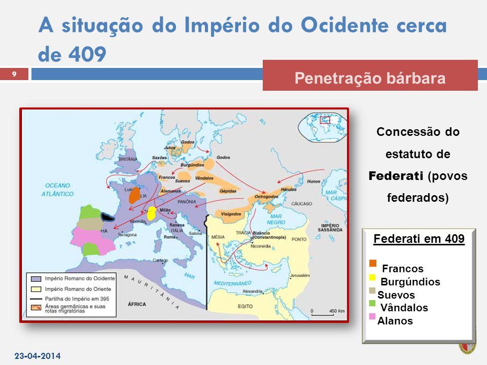 A situação do Império do Ocidente cerca de 409 23-04-2014 9 Penetração bárbara Concessão do estatuto de Federati (povos federados) Federati em 409  Francos  Burgúndios  Suevos  Vândalos  Alanos