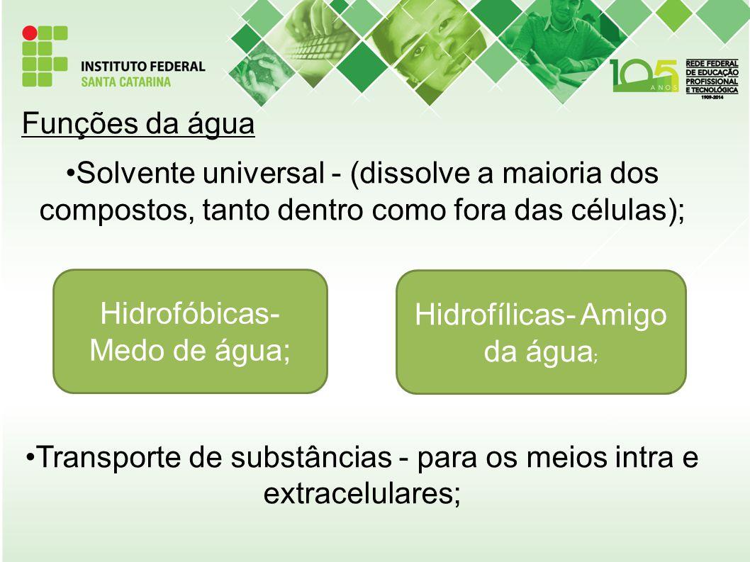 Funções da água Solvente universal - (dissolve a maioria dos compostos, tanto dentro como fora das células); Transporte de substâncias - para os meios