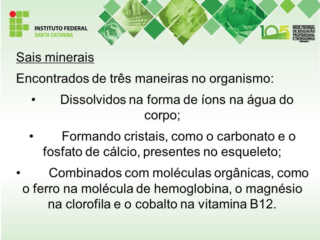 Sais minerais Encontrados de três maneiras no organismo: Dissolvidos na forma de íons na água do corpo; Formando cristais, como o carbonato e o fosfat