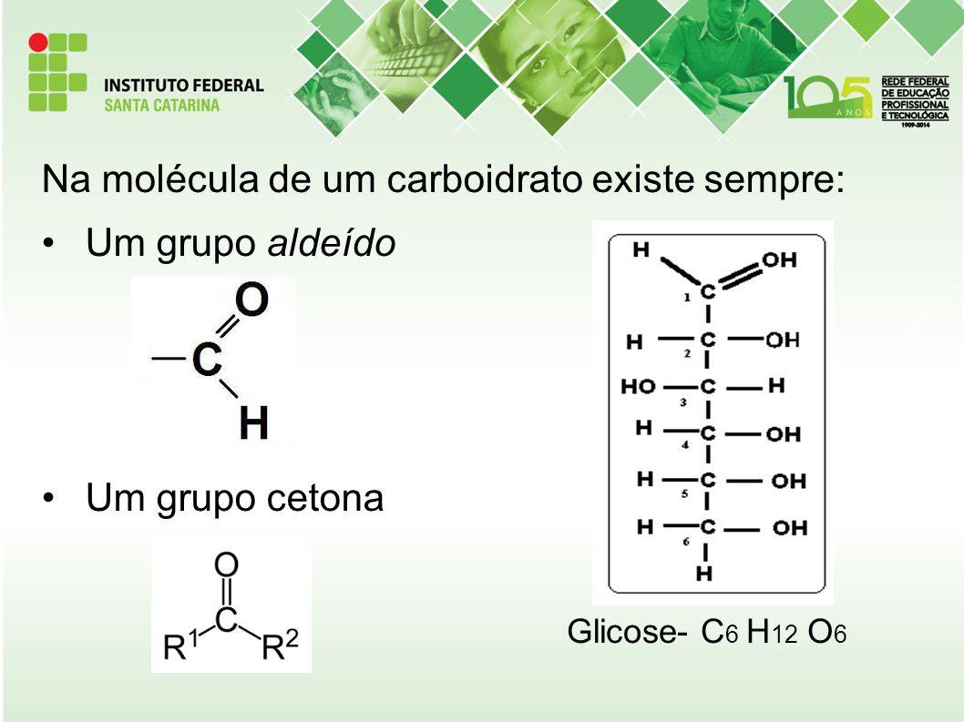 Na molécula de um carboidrato existe sempre: Um grupo aldeído Um grupo cetona Glicose- C 6 H 12 O 6