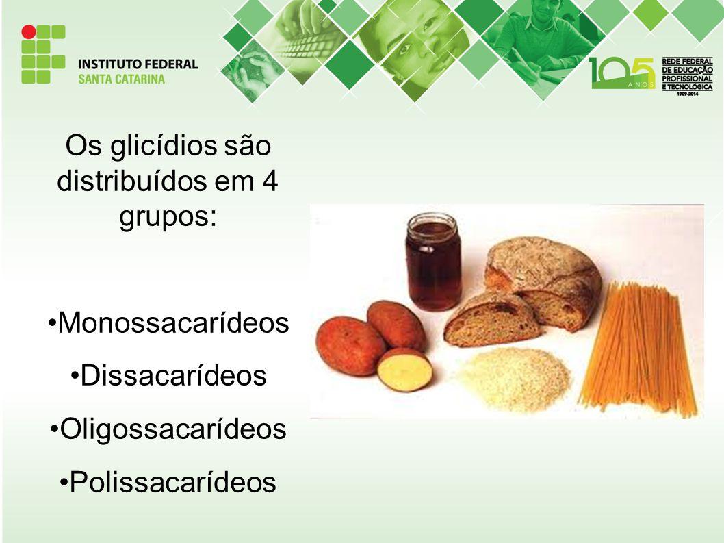 Os glicídios são distribuídos em 4 grupos: Monossacarídeos Dissacarídeos Oligossacarídeos Polissacarídeos