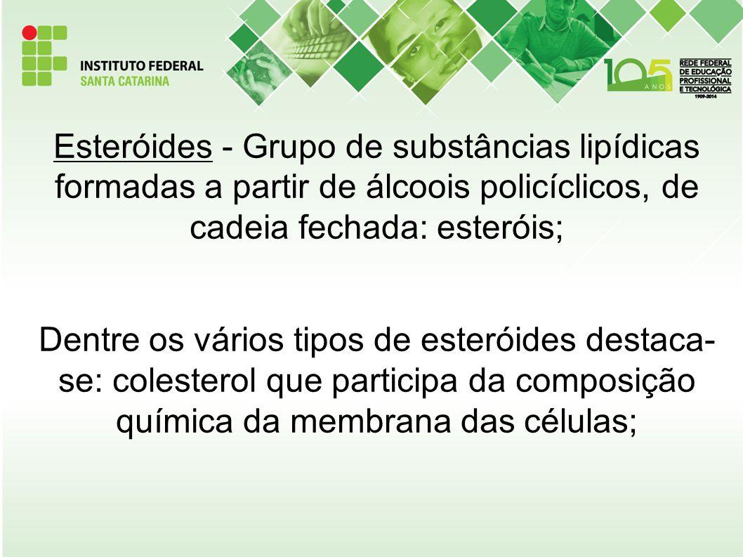 Esteróides - Grupo de substâncias lipídicas formadas a partir de álcoois policíclicos, de cadeia fechada: esteróis; Dentre os vários tipos de esteróid
