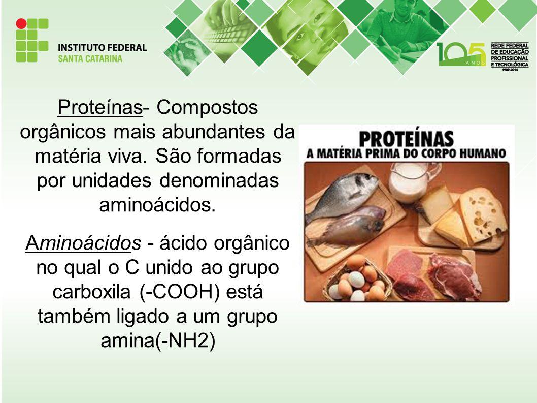 Proteínas- Compostos orgânicos mais abundantes da matéria viva. São formadas por unidades denominadas aminoácidos. Aminoácidos - ácido orgânico no qua