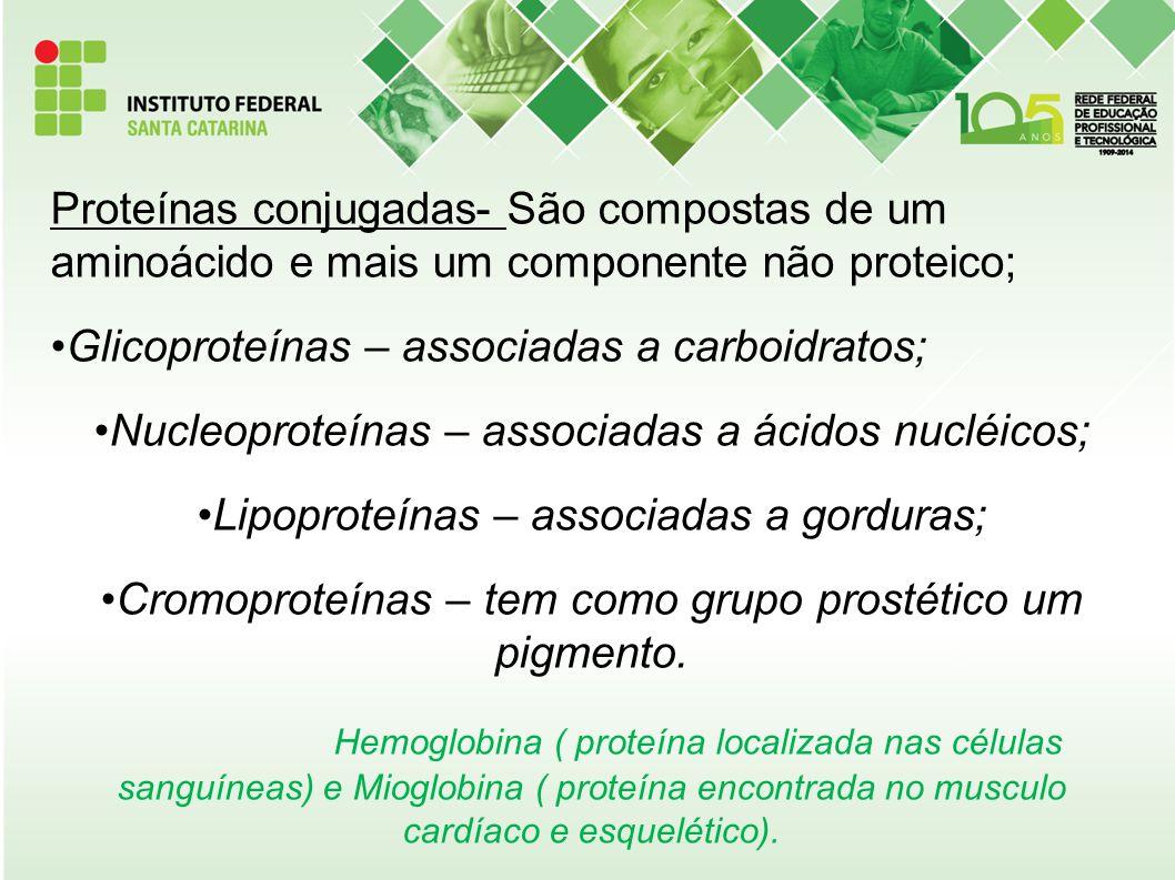 Proteínas conjugadas- São compostas de um aminoácido e mais um componente não proteico; Glicoproteínas – associadas a carboidratos; Nucleoproteínas –