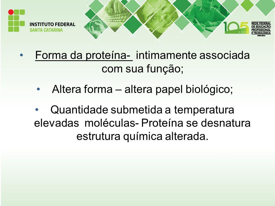 Forma da proteína- intimamente associada com sua função; Altera forma – altera papel biológico; Quantidade submetida a temperatura elevadas moléculas-