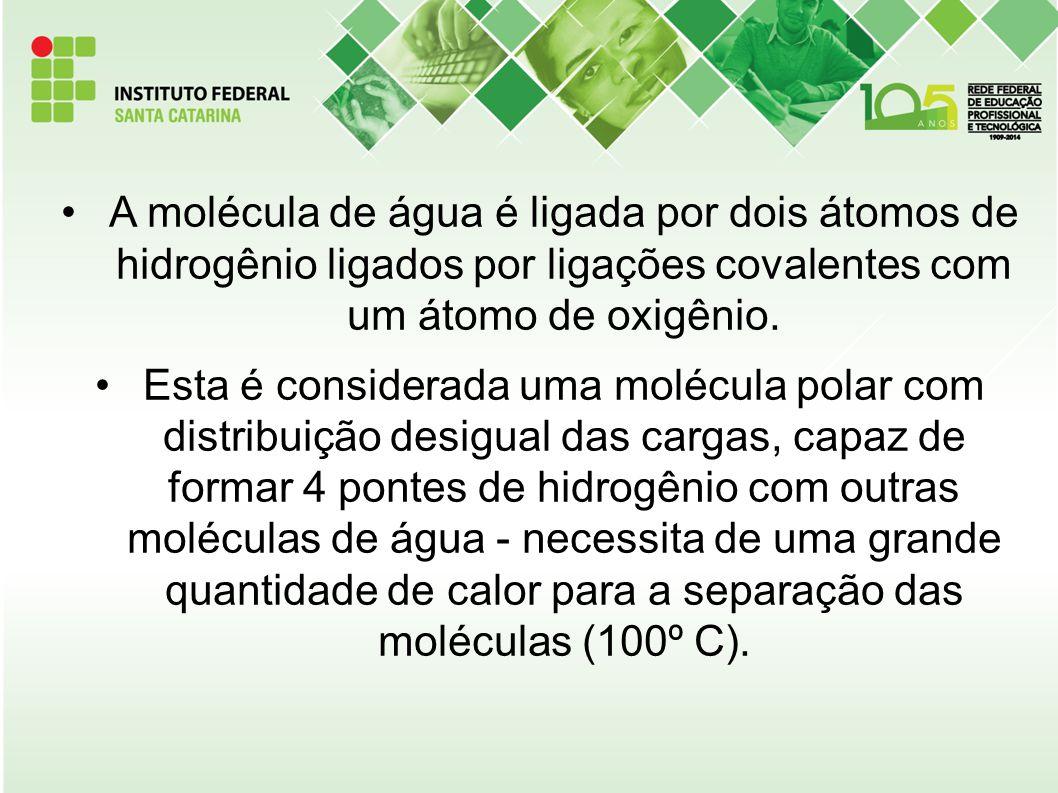 A molécula de água é ligada por dois átomos de hidrogênio ligados por ligações covalentes com um átomo de oxigênio. Esta é considerada uma molécula po