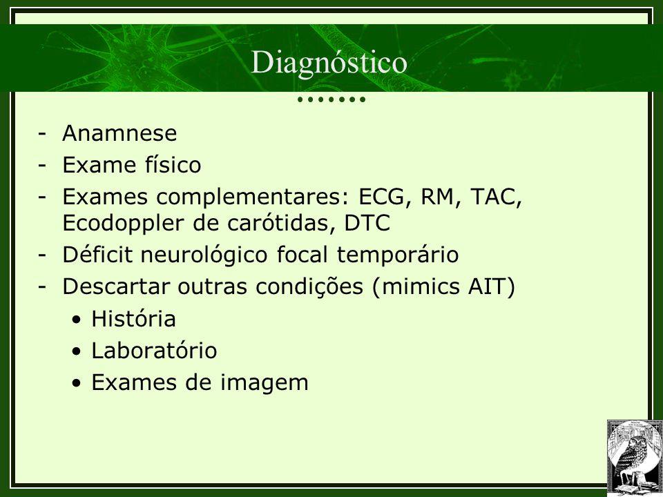 Diagnóstico -Anamnese -Exame físico -Exames complementares: ECG, RM, TAC, Ecodoppler de carótidas, DTC -Déficit neurológico focal temporário -Descarta