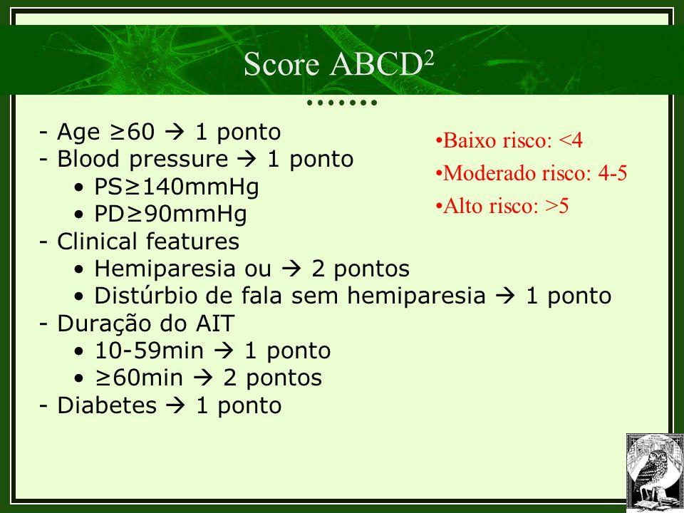 Score ABCD 2 - Age ≥60  1 ponto - Blood pressure  1 ponto PS≥140mmHg PD≥90mmHg - Clinical features Hemiparesia ou  2 pontos Distúrbio de fala sem h