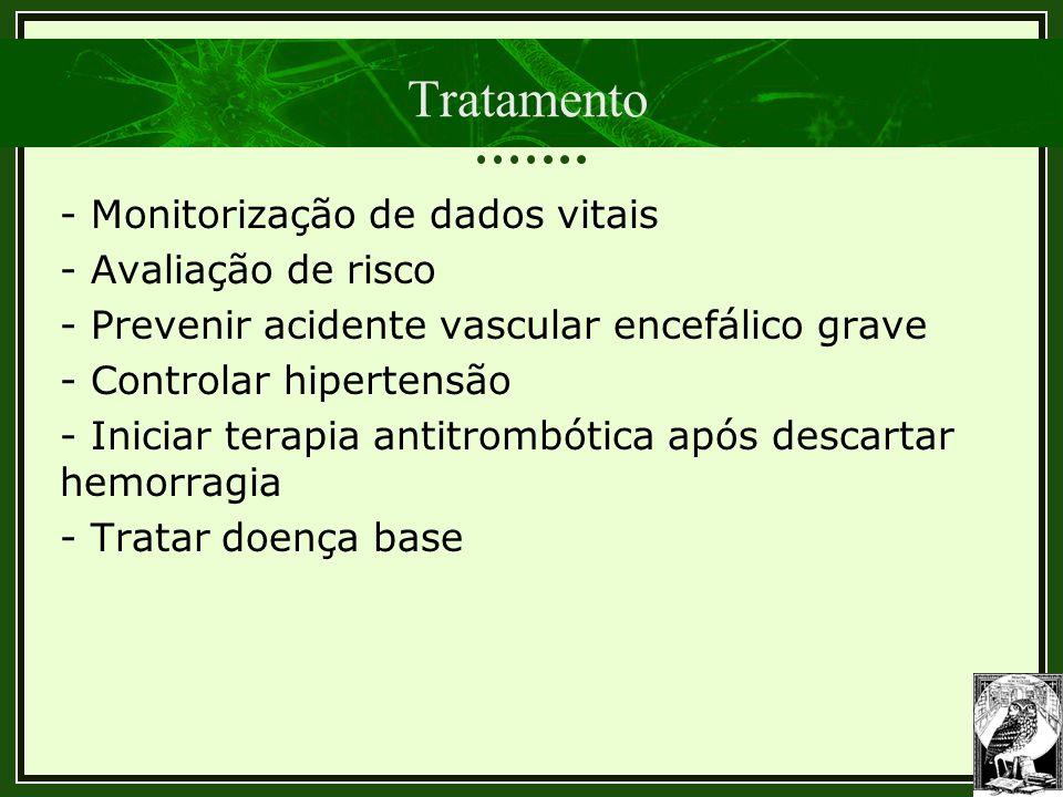 Tratamento - Monitorização de dados vitais - Avaliação de risco - Prevenir acidente vascular encefálico grave - Controlar hipertensão - Iniciar terapi