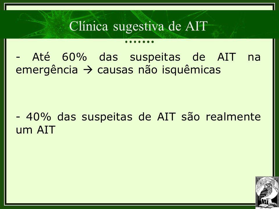 Clínica sugestiva de AIT - Até 60% das suspeitas de AIT na emergência  causas não isquêmicas - 40% das suspeitas de AIT são realmente um AIT