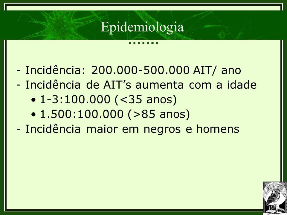 Epidemiologia - Incidência: 200.000-500.000 AIT/ ano - Incidência de AIT's aumenta com a idade 1-3:100.000 (<35 anos) 1.500:100.000 (>85 anos) - Incid