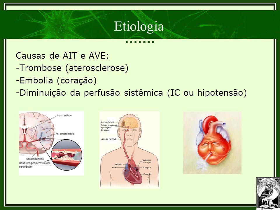 Etiologia Causas de AIT e AVE: -Trombose (aterosclerose) -Embolia (coração) -Diminuição da perfusão sistêmica (IC ou hipotensão)