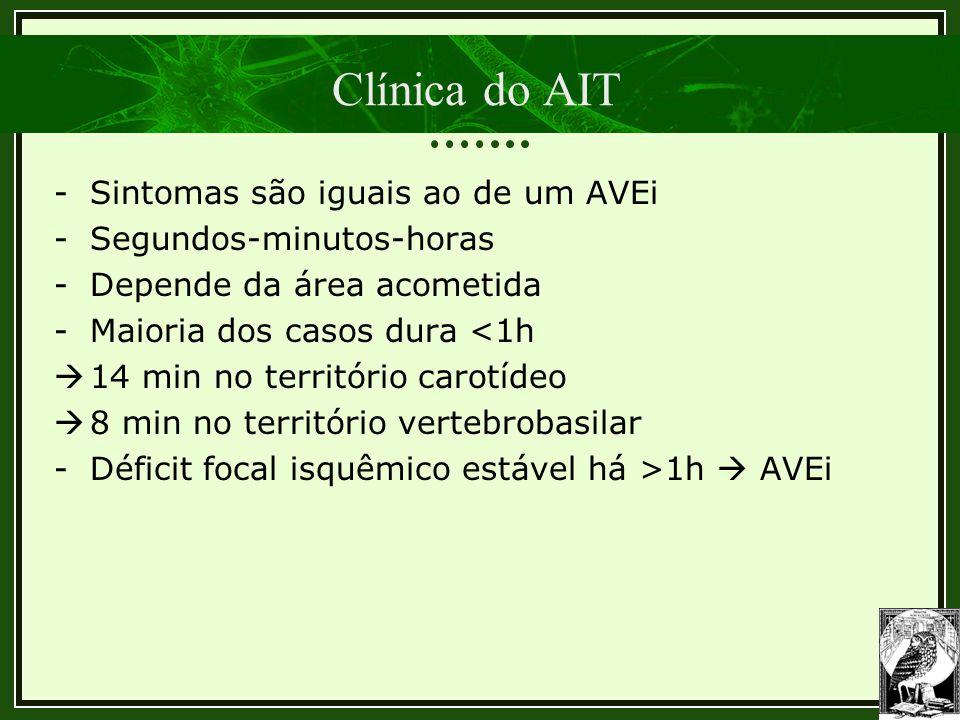 Clínica do AIT -Sintomas são iguais ao de um AVEi -Segundos-minutos-horas -Depende da área acometida -Maioria dos casos dura <1h  14 min no territóri