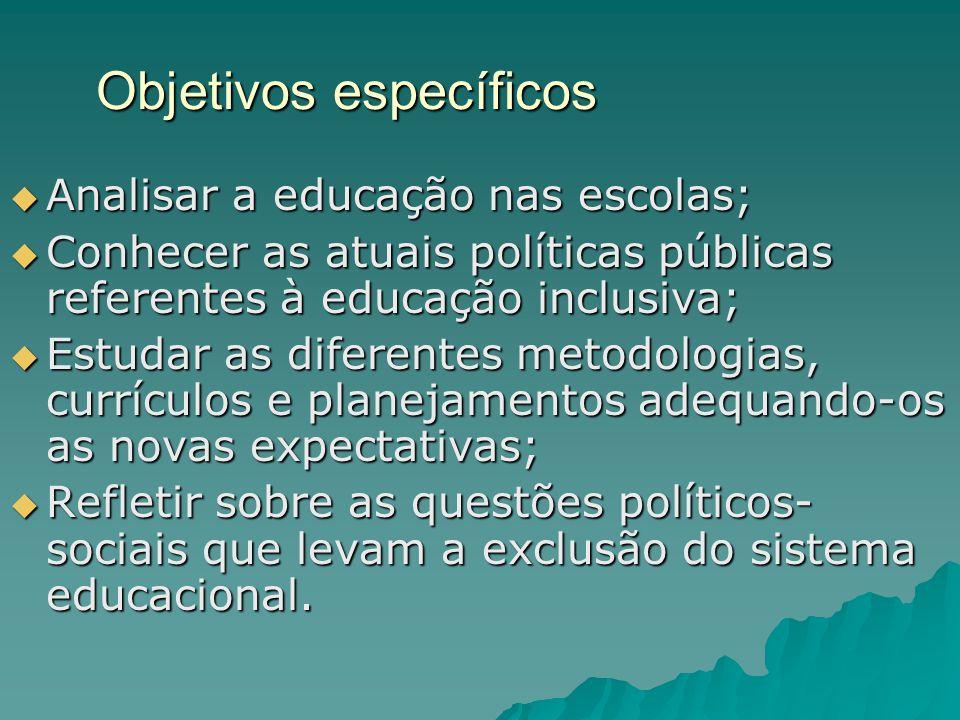 Objetivos específicos  Analisar a educação nas escolas;  Conhecer as atuais políticas públicas referentes à educação inclusiva;  Estudar as diferen